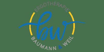 Logo Ergotherapie. Geschwungenes b und w. Baumann und Weil
